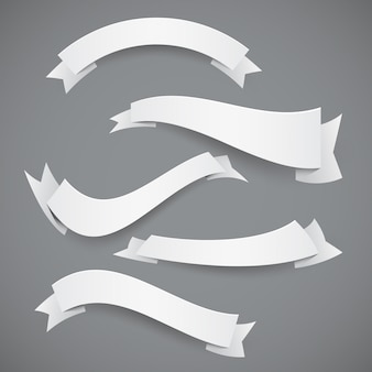Set of white paper wavy ribbons