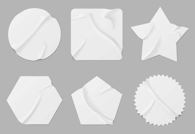 Set of white patches of different shapes