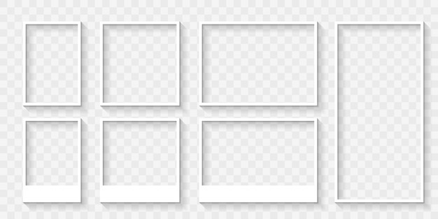 Set of white photo frames or borders with shadows