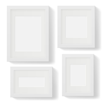 Set of white photo frames with shadows