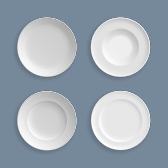 Set of white plates, bowls, dishes, vector illustration. glassware element abstract concept graphic