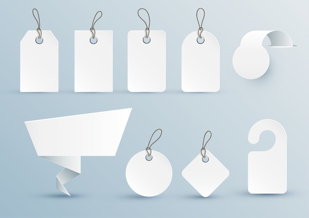 Set of white price tags of different shapes with design elements.