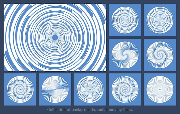 Set of white radial velocity lines from white dashed curves swirling halftone thin thick lines