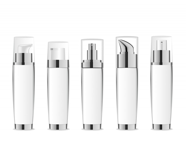 Set of white realistic cosmetic tubes with silver caps.