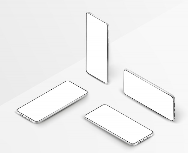 Set of white realistic isometric smartphones