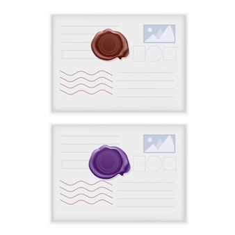 Set of white, realistic postcards