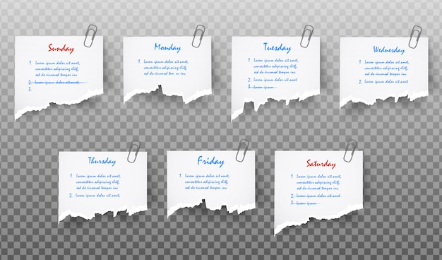 Set of white realistic sticky note