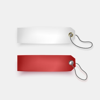 Set of white and red tags on white background, rearistic tags,