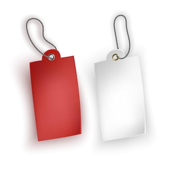Set of white and red tags on white background, tags