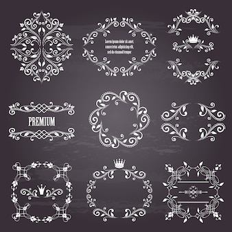 Set of white retro styled ornamental frames