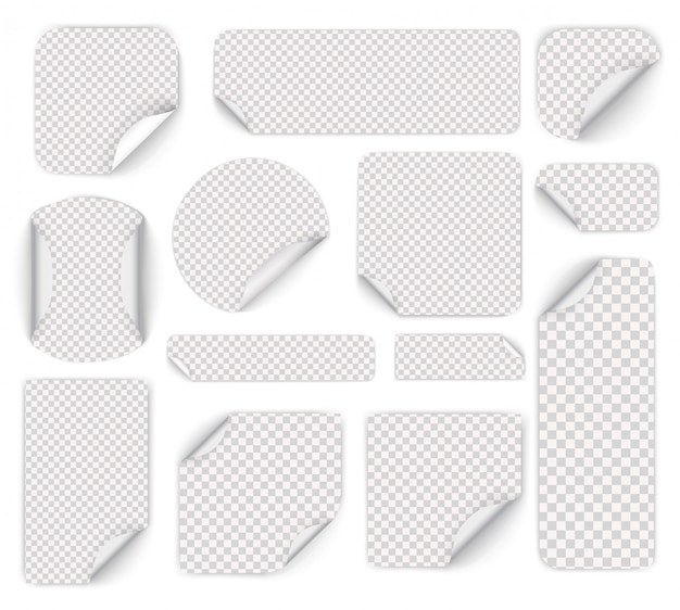 Set of white round adhesive stickers with folded edges. set of white paper sticker of different shapes with curled corners. empty price tag templates.