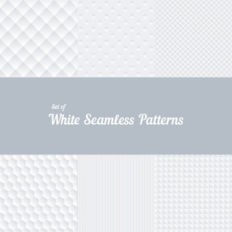 Set of white seamless patterns. convex and volumetric, stripes and crossover, square and hexagon. vector illustration