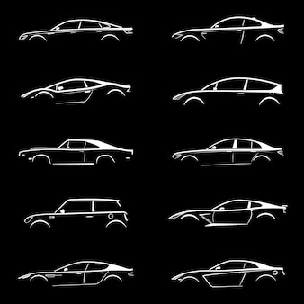 Set of white silhouette car on black background