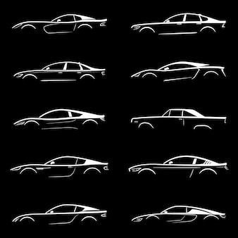 Set of white silhouette car.