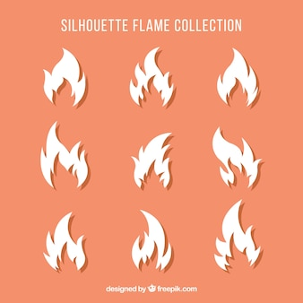 Set of white silhouettes of fire
