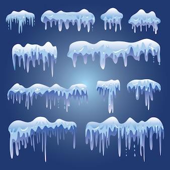 Set of white snow design element on blue background