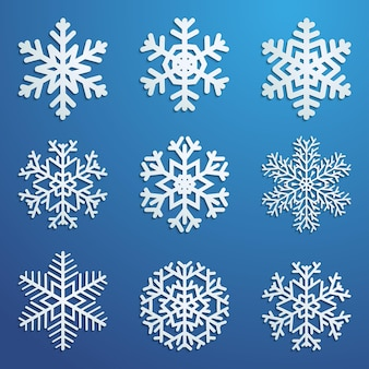 Set of white snowflakes various forms with shadows on blue background