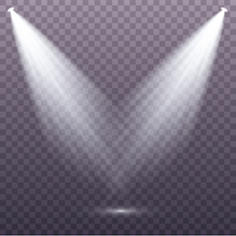 Set of the white spotlight shines on the stage, scene, podium. exclusive use lens flash light effect from a lamp or spotlight.