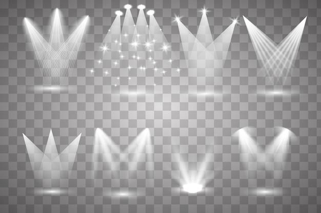 Set of the white spotlight shines on the stage, scene, podium.