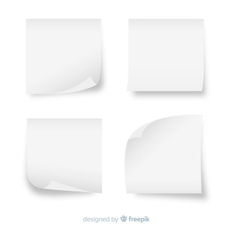 Set of white sticky notes in realistic style