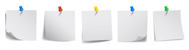 Set white sticky papers -