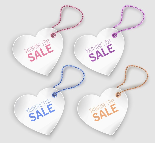 Set of white tags of heart shapes isolated  , valentine's day sale