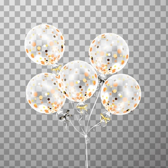 Set of white transparent balloon with confetti isolated in the air . frosted party balloons for event design. party decorations for birthday, anniversary, celebration. shine transparent balloon.