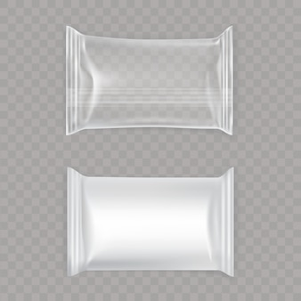 Set of white and transparent plastic bags.