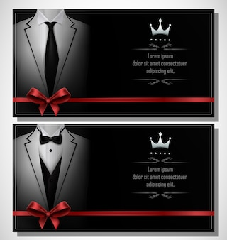 Set of white tuxedo business card template