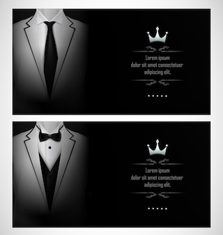 Set of white tuxedo business invitation card templates