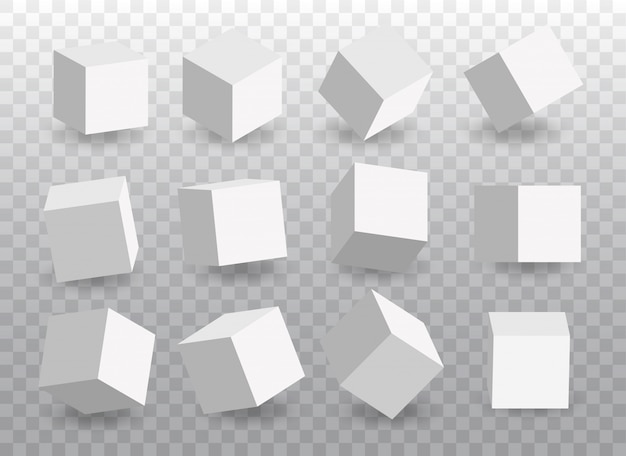 Set of white vector 3d cubes. cube icons in a perspective.