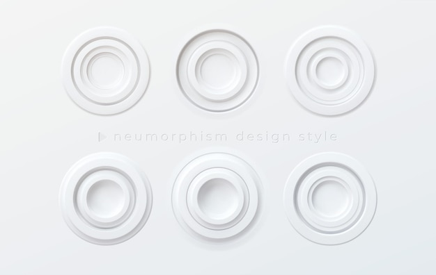 A set of white volumetric round buttons in the style of newmorphism isolated on a white background