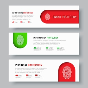 Set of white web banners with fingerprint on red and green colors