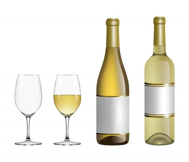 Set of white wine glasses and bottles