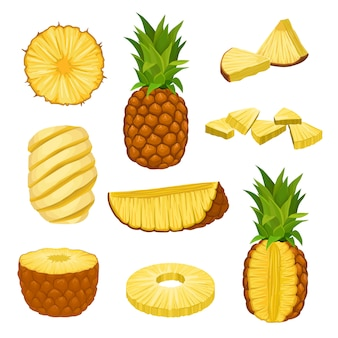 Set of whole, halves and chopped pineapples.