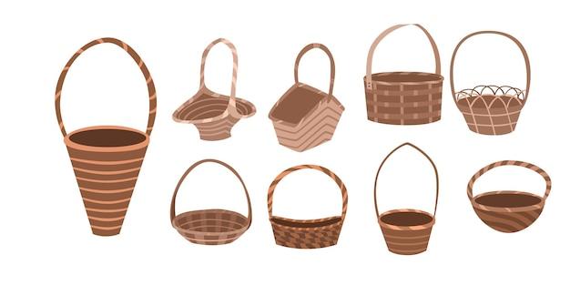Set wicker basket flat style.