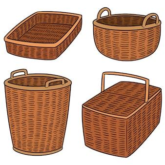 Set of wicker basket