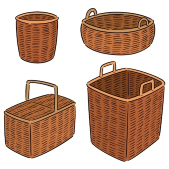 Set of wicker basket