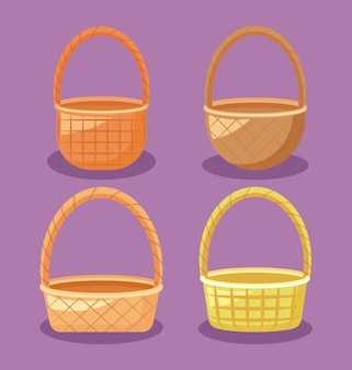 Set of wicker baskets