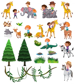 Set of wild animal and children