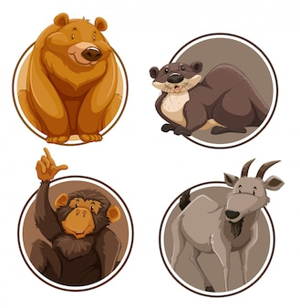 Set of wild animal on sticker template