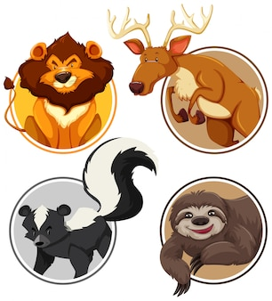 Set of wild animals on circle template