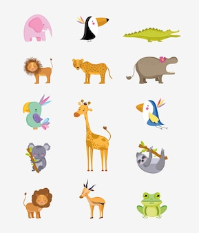 Set of wild animals cute cartoons