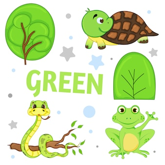 Set of wild animals and insects for children green
