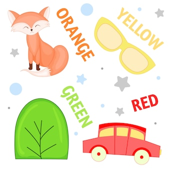 Set of wild animals and insects for children orange, yellow , green, red