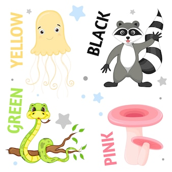 Set of wild animals and insects for children