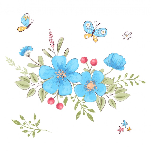 Set of wildflowers and butterflies. hand drawing.