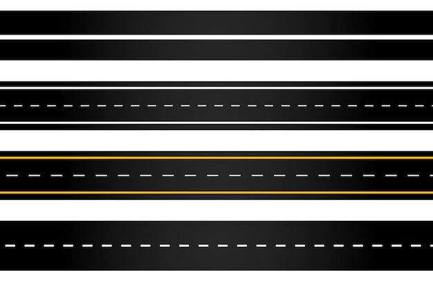 Set of winding road and highways with dividing markings isolated