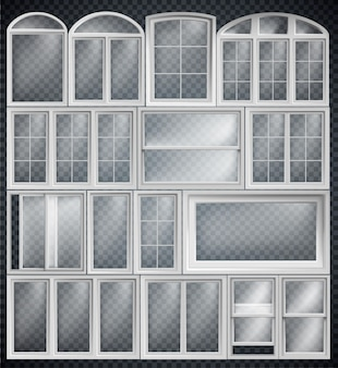 Set of window frames isolated on transparent background