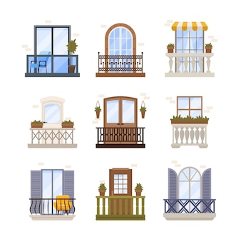 Set of windows and balconies exterior architecture decoration